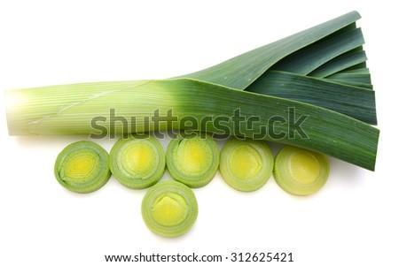 fresh leek isolated on white  - stock photo