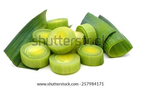 fresh leek sliced isolated on white  - stock photo