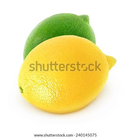 Fresh lemon and lime isolated on white - stock photo