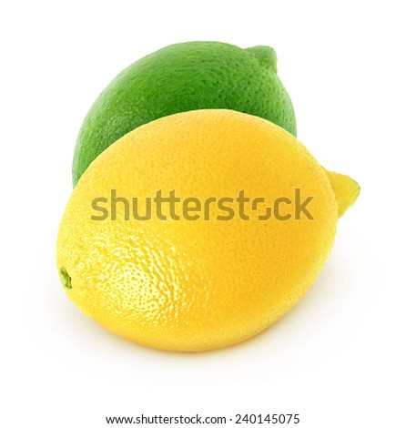 Fresh lemon and lime isolated on white background, with clipping path - stock photo