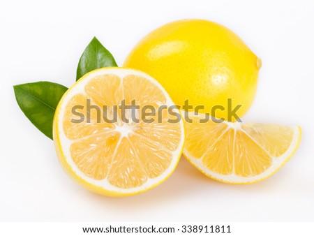 fresh lemon isolated on white background - stock photo