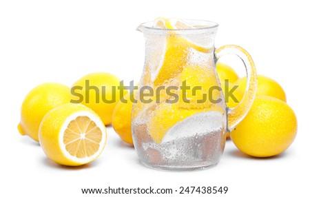 fresh lemon's water - stock photo