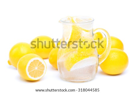 fresh lemon's water - stock photo