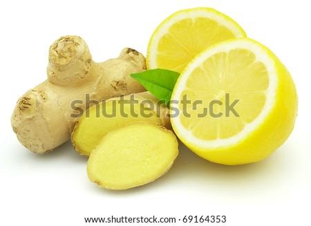 Fresh lemon with ginger - stock photo