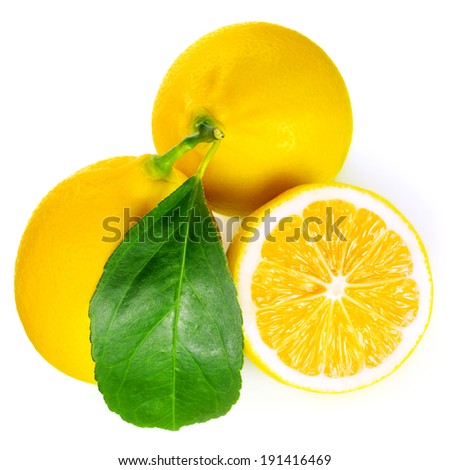 Fresh lemon with half and leaves isolated on white background  - stock photo