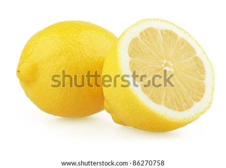 Fresh lemon with half isolated on white background - stock photo