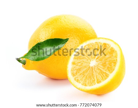 fresh lemon with slice and leaf isolated white background