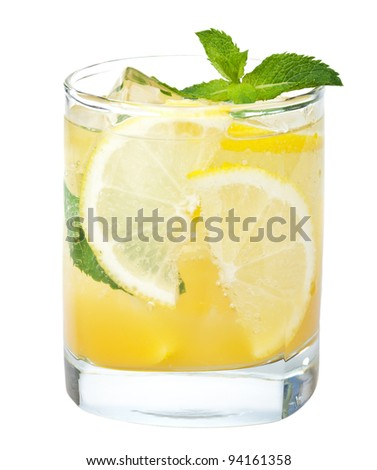fresh lemonade isolated - stock photo