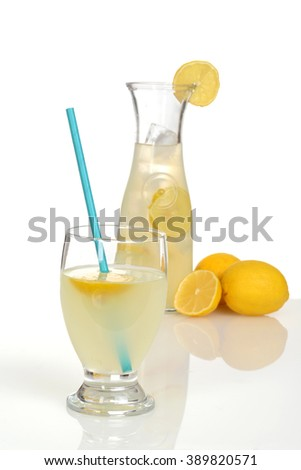 fresh lemonade with a straw - stock photo