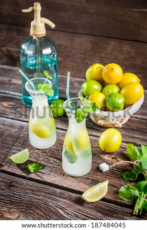 Fresh lemonade with fruit and mint