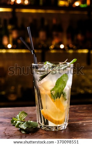 Fresh lemonade with mint and ice - stock photo