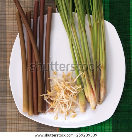 Fresh lemongrass, lotus stalk, bean sprouts on white plate on colorful mats - stock photo