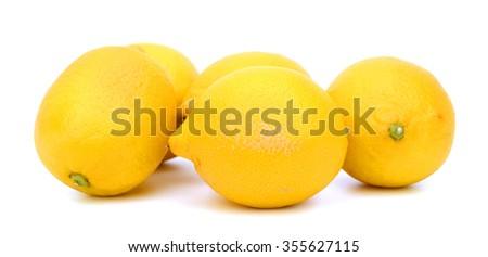 fresh lemons isolated on white  - stock photo