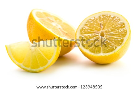 Fresh lemons isolated on white background