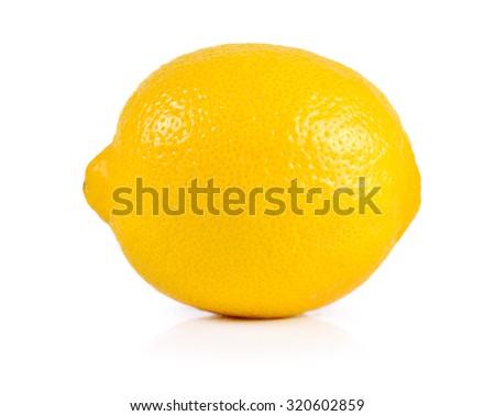 fresh lemons isolated on white background. - stock photo