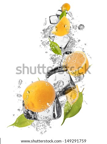 Fresh lemons with ice cubes, isolated on white background - stock photo