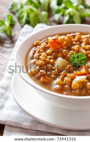 fresh lentil soup in bowl - stock photo