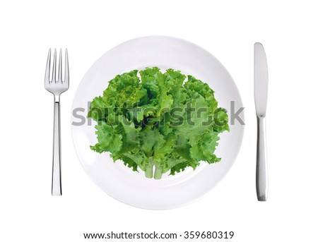 fresh lettuce on white plate, fork and knife isolated on white background - stock photo