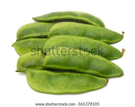 fresh lima beans isolated on white background - stock photo