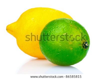 fresh lime and lemon isolated on white - stock photo