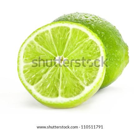 Fresh lime and slice, Isolated on white background - stock photo