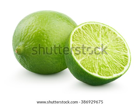 Fresh lime citrus fruit and half isolated on white background with clipping path - stock photo