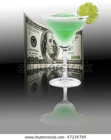 Fresh lime cocktail, money, 100 american dollars - stock photo