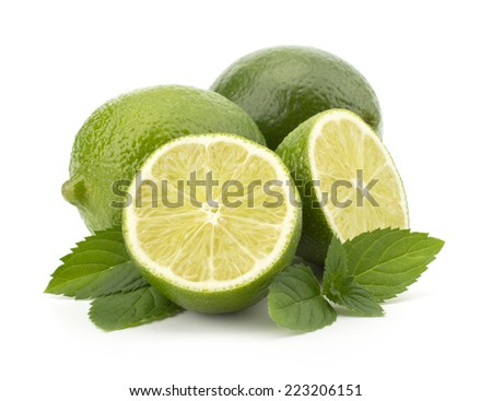 Fresh lime fruit with mint leaves isolated on white background - stock photo