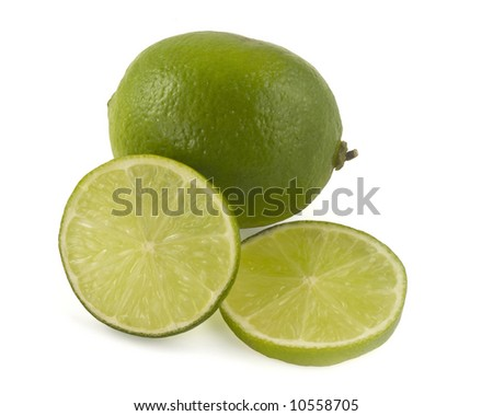 Fresh lime fruit with two slices, isolation on white with clipping path (shadow excluded from path)