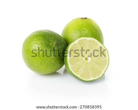 fresh lime fruits Isolated on white - stock photo