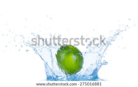 Fresh lime in water splash isolated on white background