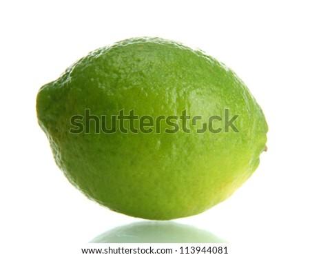 fresh lime isolated on white - stock photo