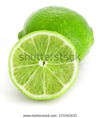 Fresh lime, Isolated on white background - stock photo
