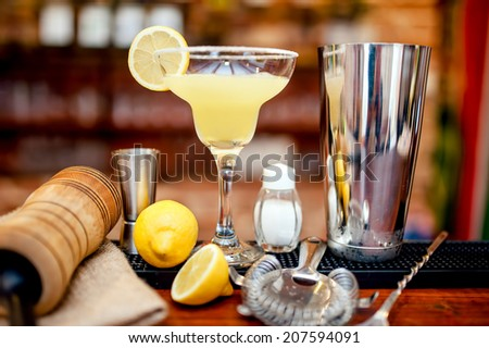 fresh lime margarita served in bar and casino - stock photo