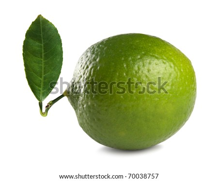 Fresh lime with leaf isolated on white background