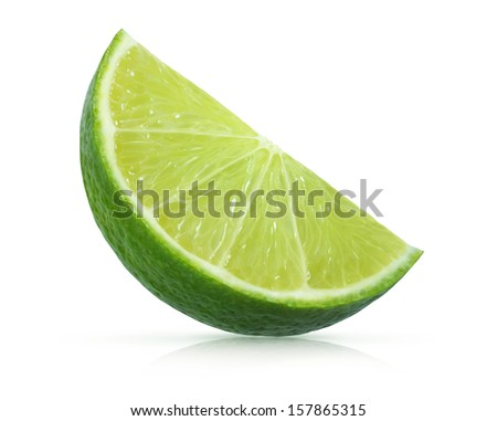 fresh lime with reflection on white background