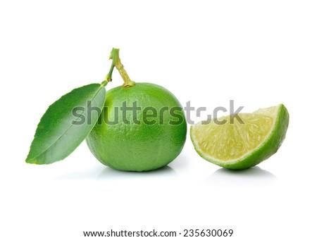 Fresh limes Isolated on white background - stock photo