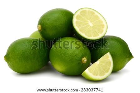 fresh limes on white background  - stock photo