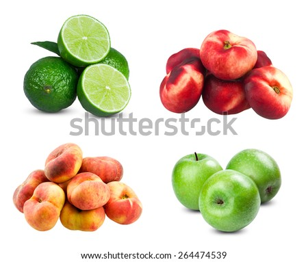 Fresh limes sliced, Fresh diet fruit three green apples,  Flat Nectarines and peaches isolated on white background. - stock photo