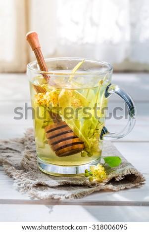 Fresh linden tea with honey - stock photo