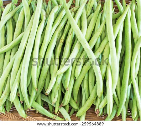 Fresh long beans chopped (Vigna unguiculata subsp. sesquipedalis) - stock photo