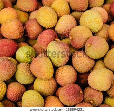Fresh lychee. Exotic fruits background. Closeup. - stock photo
