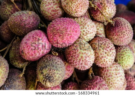 Fresh lychee in the market - stock photo