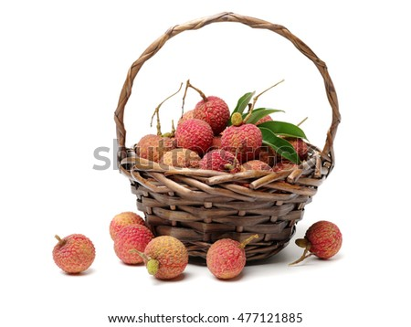 Fresh lychee (Litchi chinensis) isolated on white background