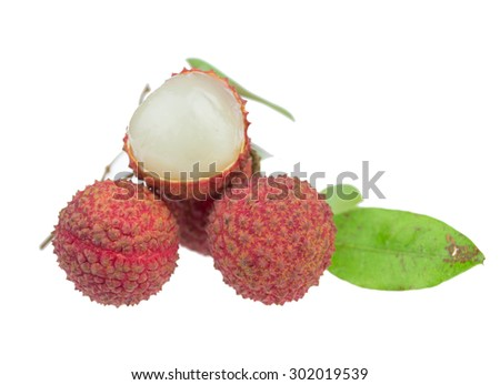 Fresh lychees isolated on a white background - stock photo