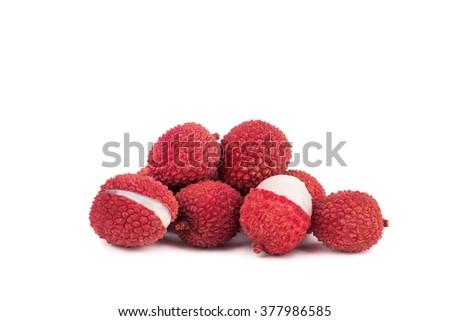 Fresh lychees isolated on white background - stock photo
