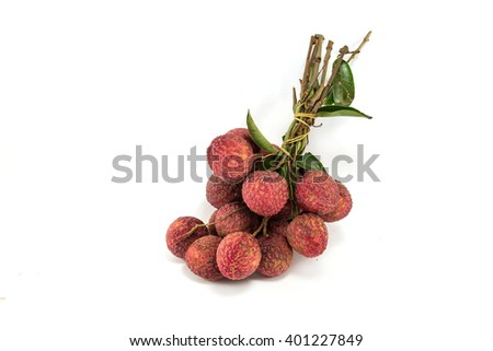 Fresh lychees (Litchi chinensis) isolated on white - stock photo