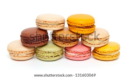 fresh macaroons isolated on white background - stock photo