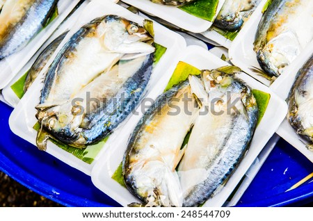 Fresh mackerel at seafood market, Thailand - stock photo