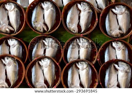 Fresh mackerel fish  in the market - stock photo